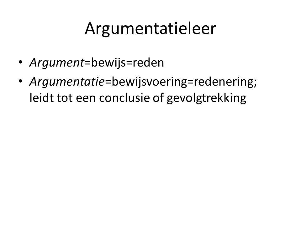Argumentatieleer Argument=bewijs=reden Argumentatie=bewijsvoering=redenering; leidt tot een conclusie of gevolgtrekking
