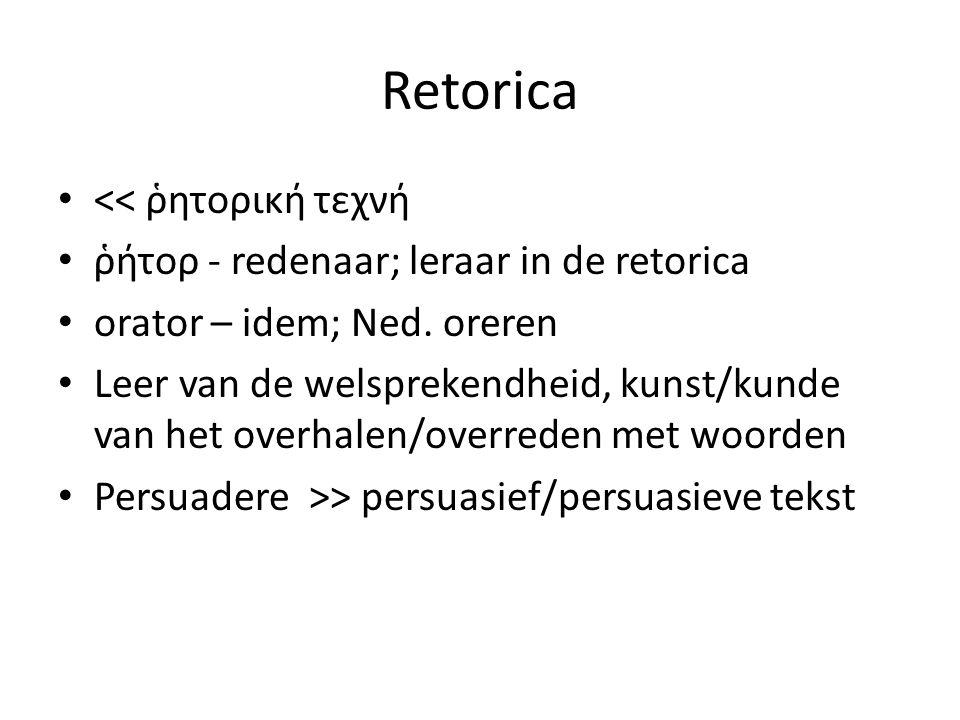 Retorica << ῥητορική τεχνή ῥήτορ - redenaar; leraar in de retorica orator – idem; Ned. oreren Leer van de welsprekendheid, kunst/kunde van het overhal