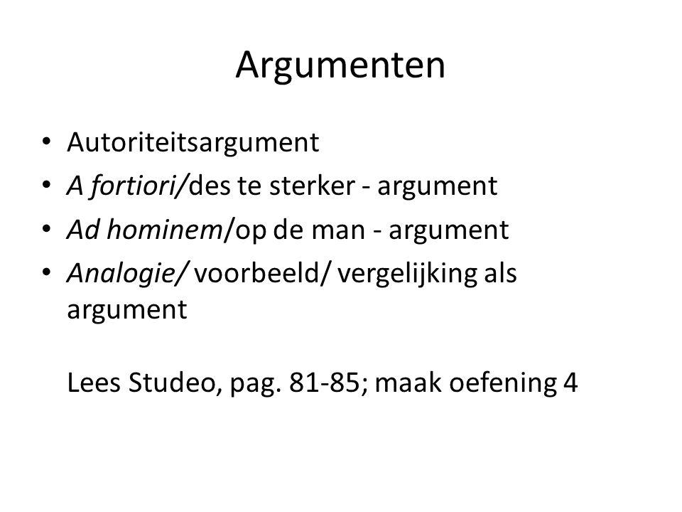 Argumenten Autoriteitsargument A fortiori/des te sterker - argument Ad hominem/op de man - argument Analogie/ voorbeeld/ vergelijking als argument Lee