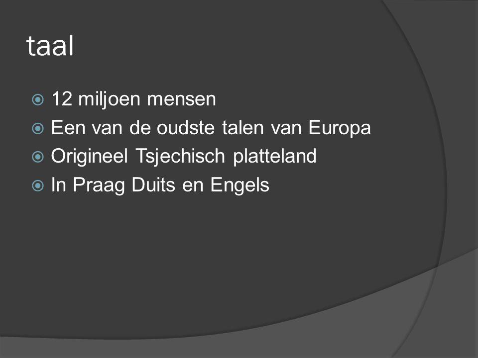 taal  12 miljoen mensen  Een van de oudste talen van Europa  Origineel Tsjechisch platteland  In Praag Duits en Engels