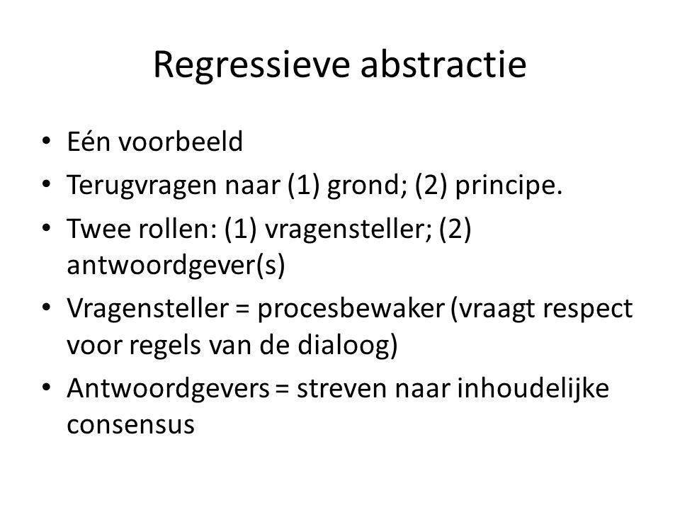 Regressieve abstractie Eén voorbeeld Terugvragen naar (1) grond; (2) principe. Twee rollen: (1) vragensteller; (2) antwoordgever(s) Vragensteller = pr