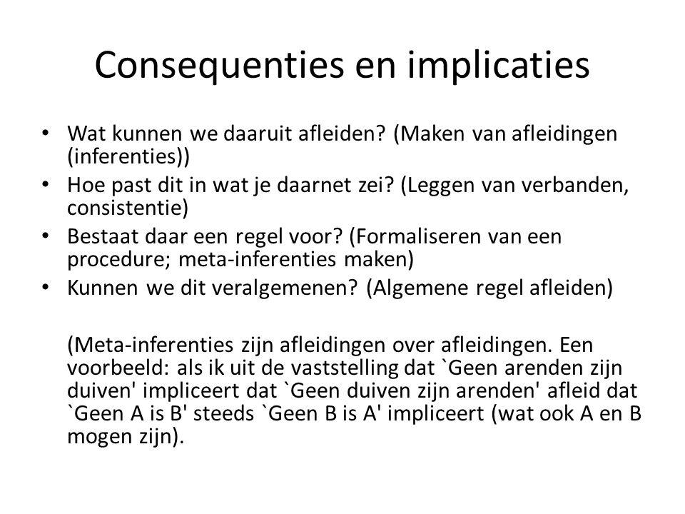 Consequenties en implicaties Wat kunnen we daaruit afleiden? (Maken van afleidingen (inferenties)) Hoe past dit in wat je daarnet zei? (Leggen van ver
