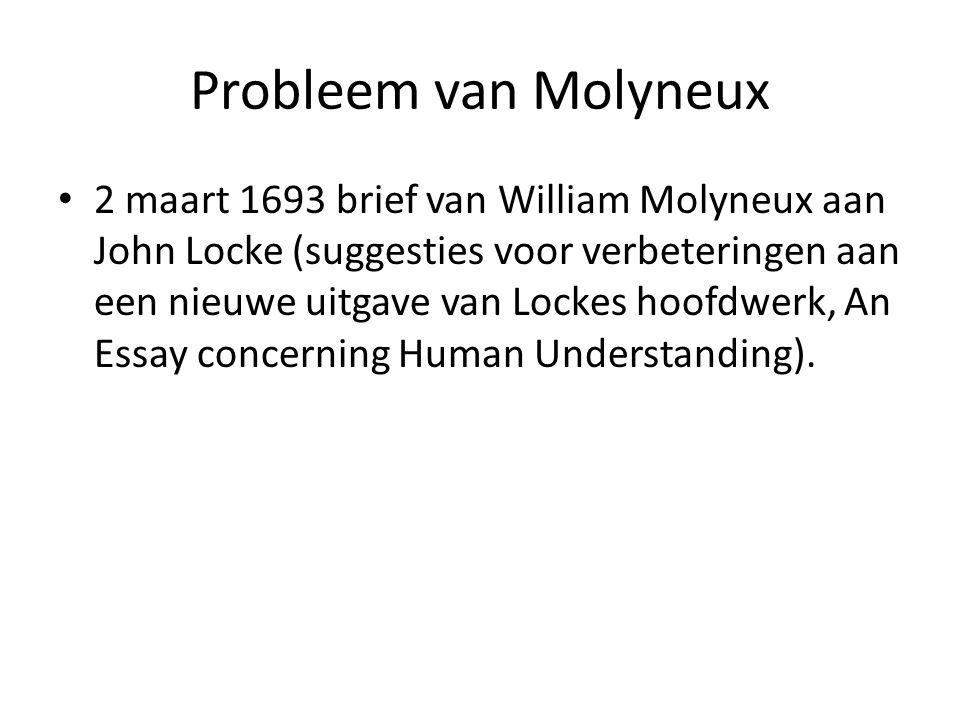 Probleem van Molyneux 2 maart 1693 brief van William Molyneux aan John Locke (suggesties voor verbeteringen aan een nieuwe uitgave van Lockes hoofdwerk, An Essay concerning Human Understanding).