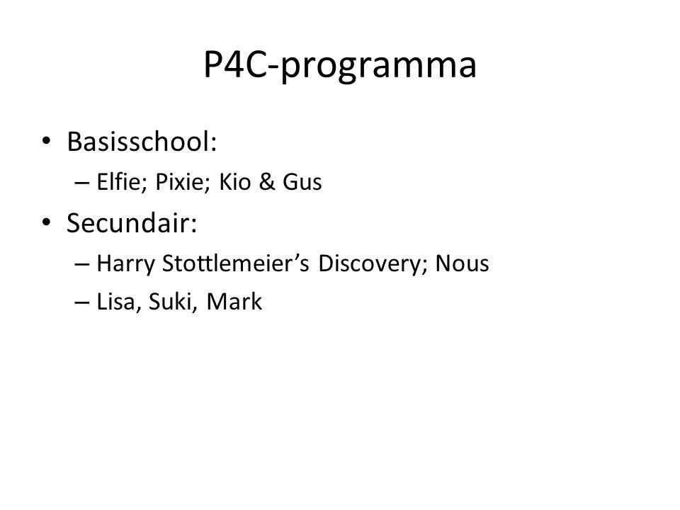 P4C-programma Basisschool: – Elfie; Pixie; Kio & Gus Secundair: – Harry Stottlemeier's Discovery; Nous – Lisa, Suki, Mark