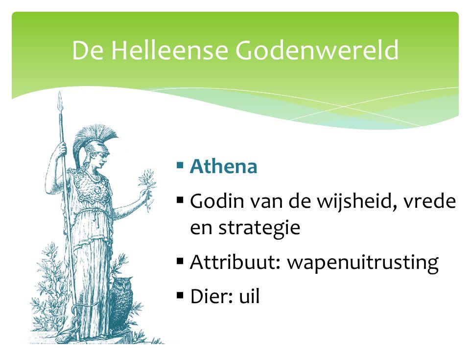 De Helleense Godenwereld  Athena  Godin van de wijsheid, vrede en strategie  Attribuut: wapenuitrusting  Dier: uil