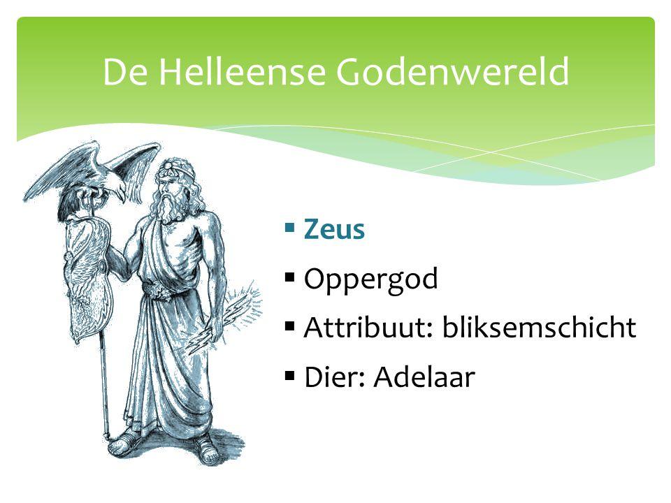 De Helleense Godenwereld  Hera  Vrouw van Zeus  Godin van het huwelijk  Attribuut: scepter  Dier: pauw