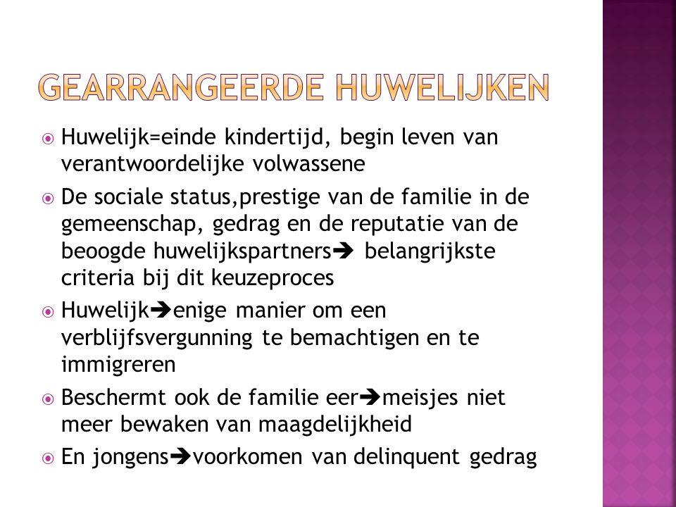  Huwelijk=einde kindertijd, begin leven van verantwoordelijke volwassene  De sociale status,prestige van de familie in de gemeenschap, gedrag en de