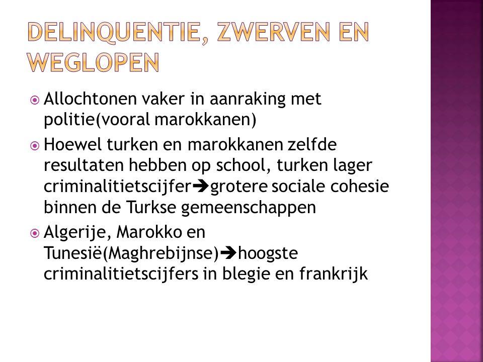  Allochtonen vaker in aanraking met politie(vooral marokkanen)  Hoewel turken en marokkanen zelfde resultaten hebben op school, turken lager crimina
