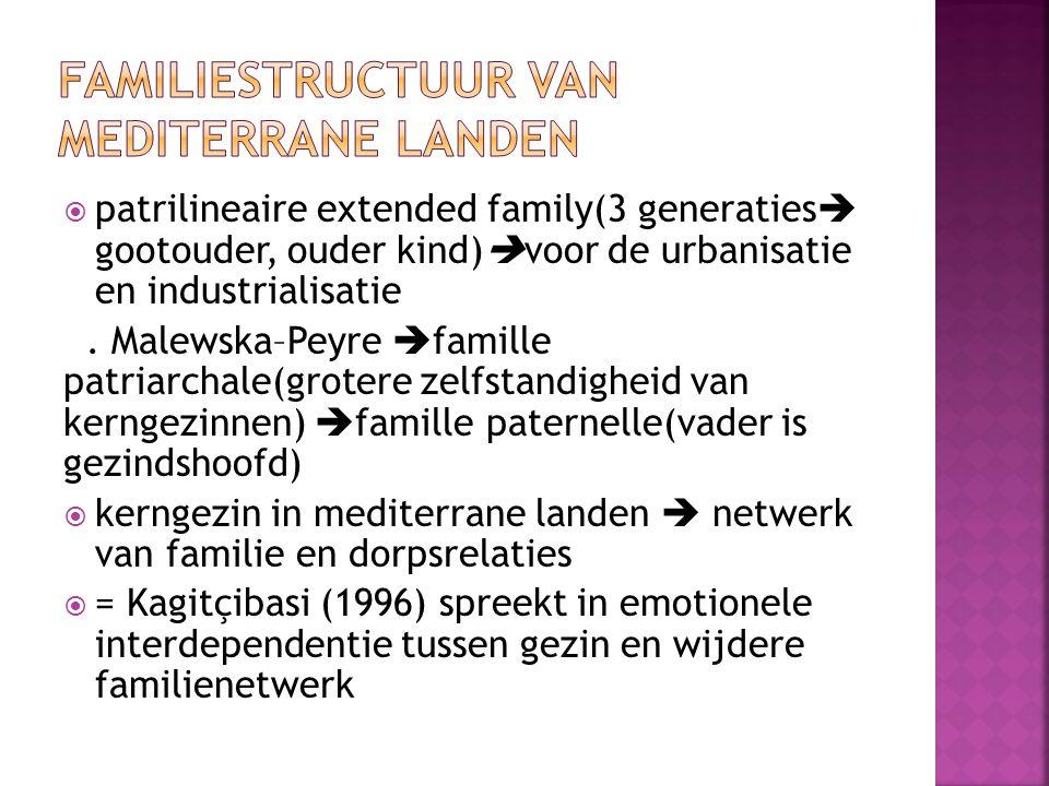  patrilineaire extended family(3 generaties  gootouder, ouder kind)  voor de urbanisatie en industrialisatie. Malewska–Peyre  famille patriarchale