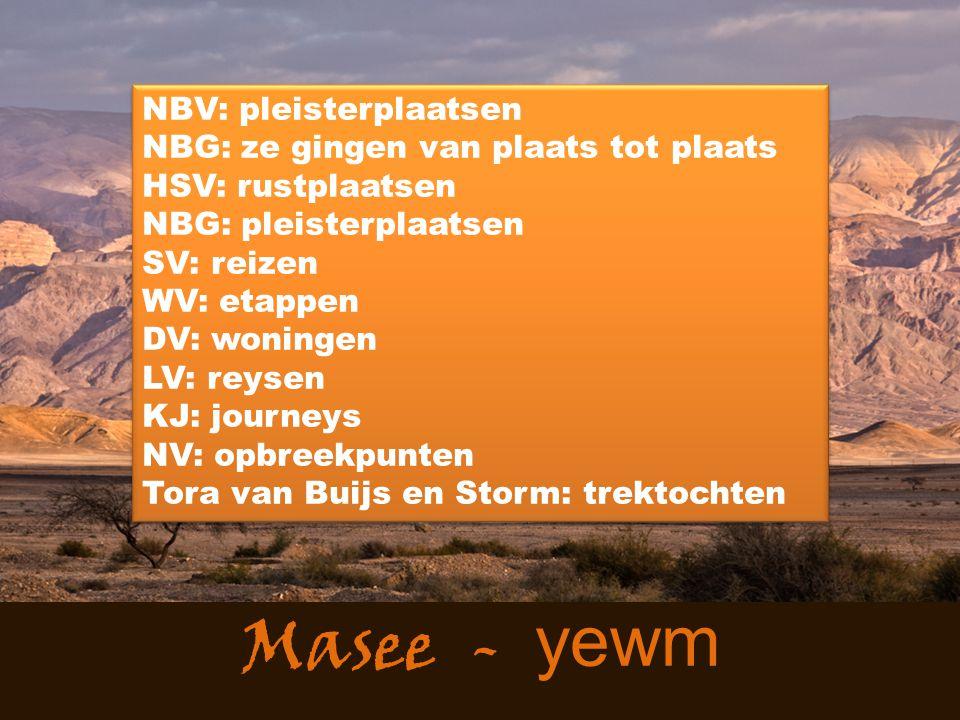 Masee - yewm NBV: pleisterplaatsen NBG: ze gingen van plaats tot plaats HSV: rustplaatsen NBG: pleisterplaatsen SV: reizen WV: etappen DV: woningen LV