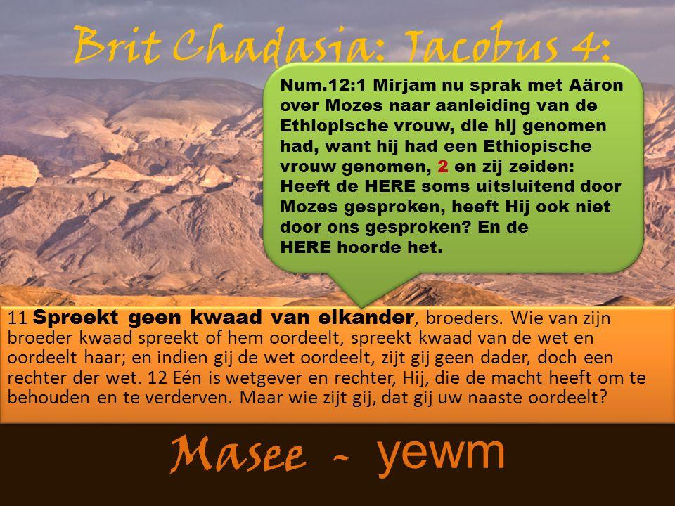 Masee - yewm 11 Spreekt geen kwaad van elkander, broeders. Wie van zijn broeder kwaad spreekt of hem oordeelt, spreekt kwaad van de wet en oordeelt ha