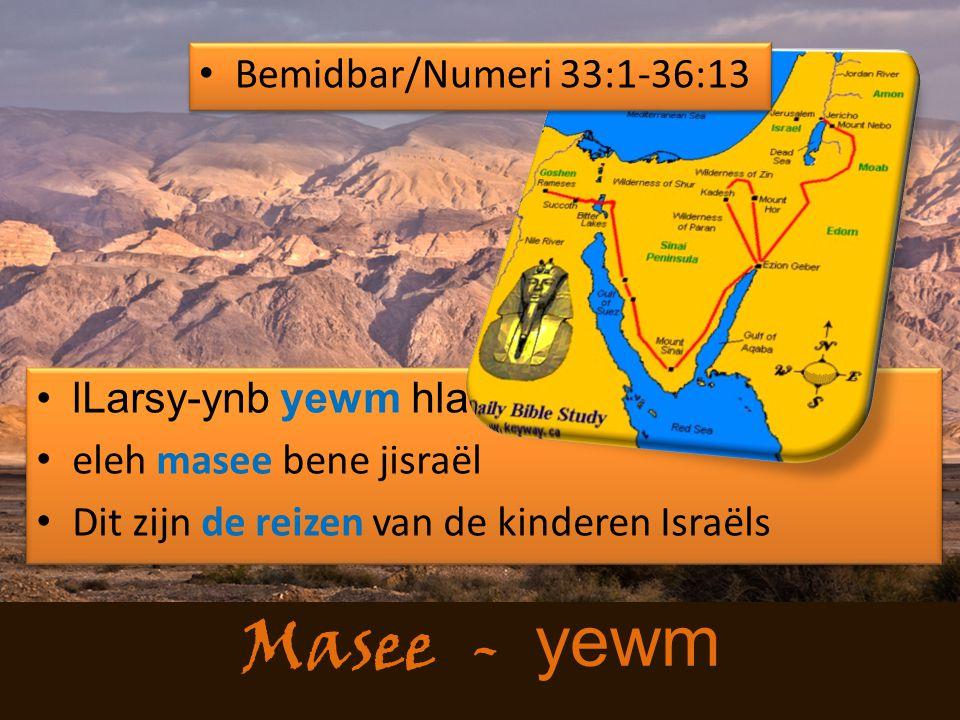 Masee - yewm lLarsy-ynb yewm hla eleh masee bene jisraël Dit zijn de reizen van de kinderen Israëls lLarsy-ynb yewm hla eleh masee bene jisraël Dit zijn de reizen van de kinderen Israëls Bemidbar/Numeri 33:1-36:13