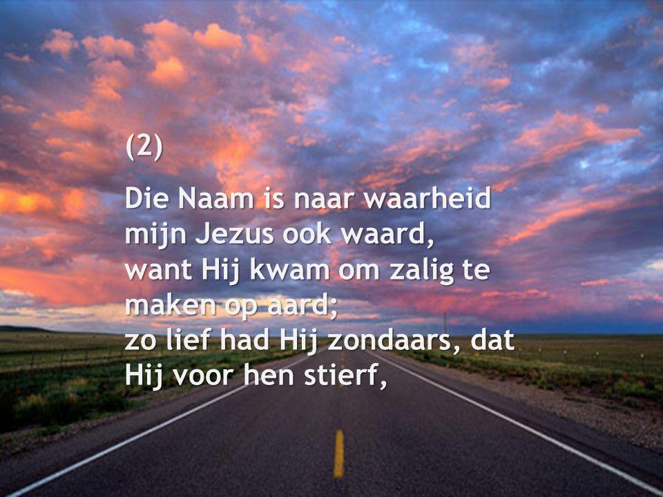 (2) Die Naam is naar waarheid mijn Jezus ook waard, want Hij kwam om zalig te maken op aard; zo lief had Hij zondaars, dat Hij voor hen stierf,