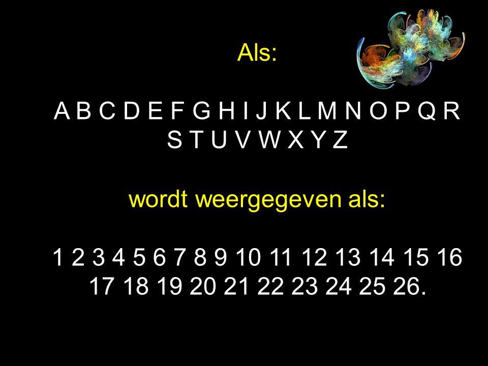 Als: A B C D E F G H I J K L M N O P Q R S T U V W X Y Z wordt weergegeven als: 1 2 3 4 5 6 7 8 9 10 11 12 13 14 15 16 17 18 19 20 21 22 23 24 25 26.