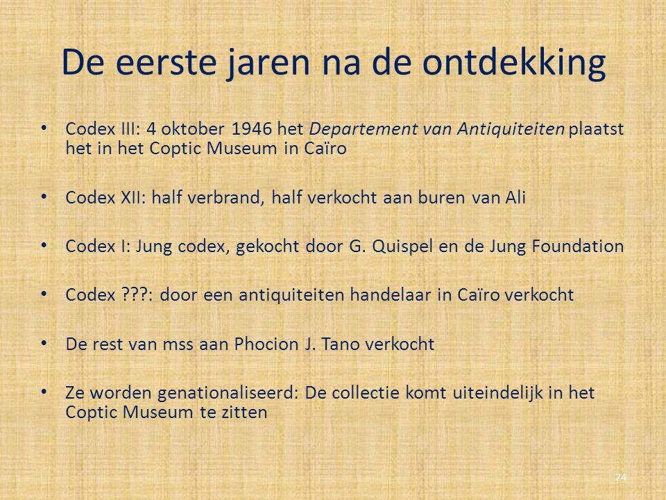 De eerste jaren na de ontdekking Codex III: 4 oktober 1946 het Departement van Antiquiteiten plaatst het in het Coptic Museum in Caïro Codex XII: half