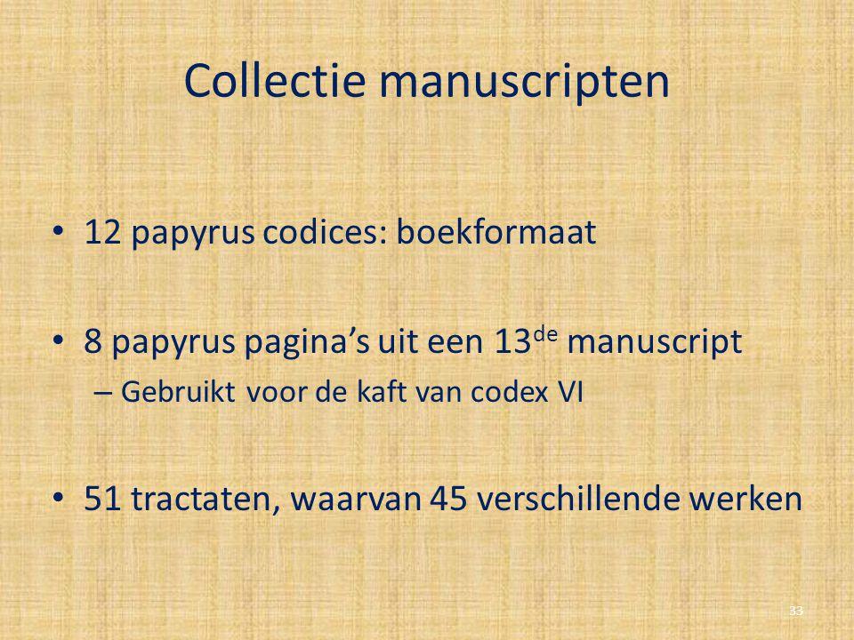 Collectie manuscripten 12 papyrus codices: boekformaat 8 papyrus pagina's uit een 13 de manuscript – Gebruikt voor de kaft van codex VI 51 tractaten,