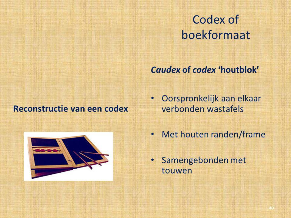 Codex of boekformaat Caudex of codex 'houtblok' Oorspronkelijk aan elkaar verbonden wastafels Met houten randen/frame Samengebonden met touwen Reconst