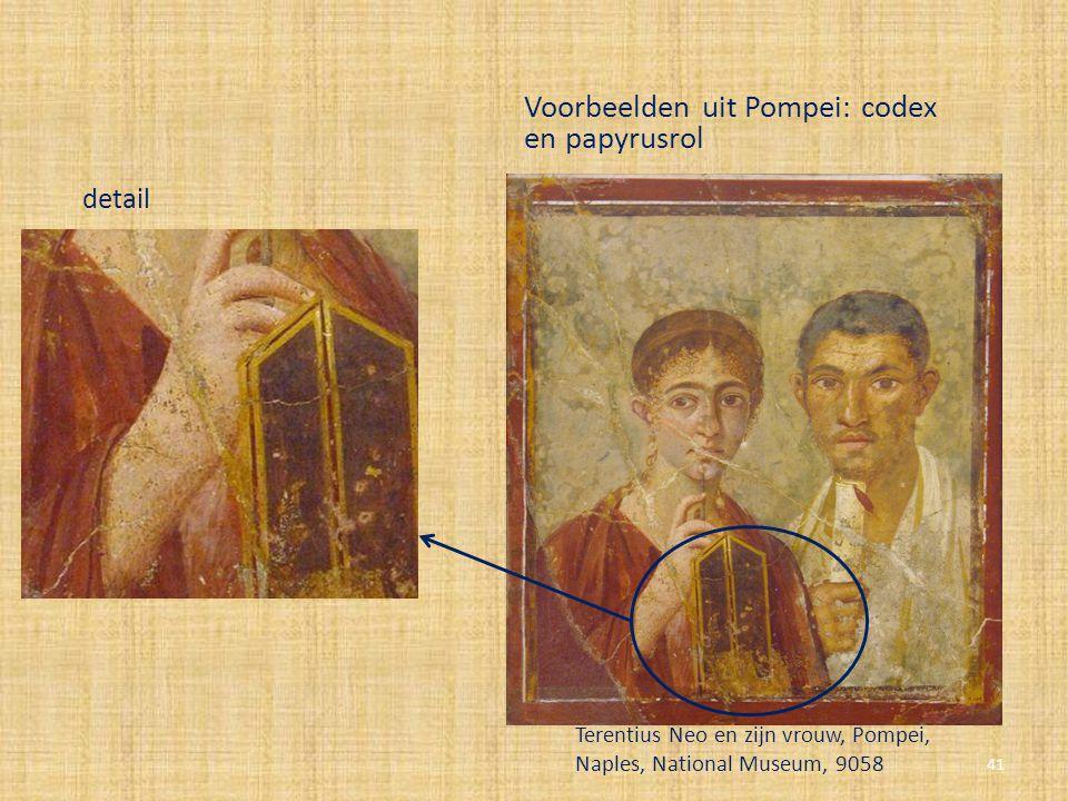 detail Voorbeelden uit Pompei: codex en papyrusrol Terentius Neo en zijn vrouw, Pompei, Naples, National Museum, 9058 41