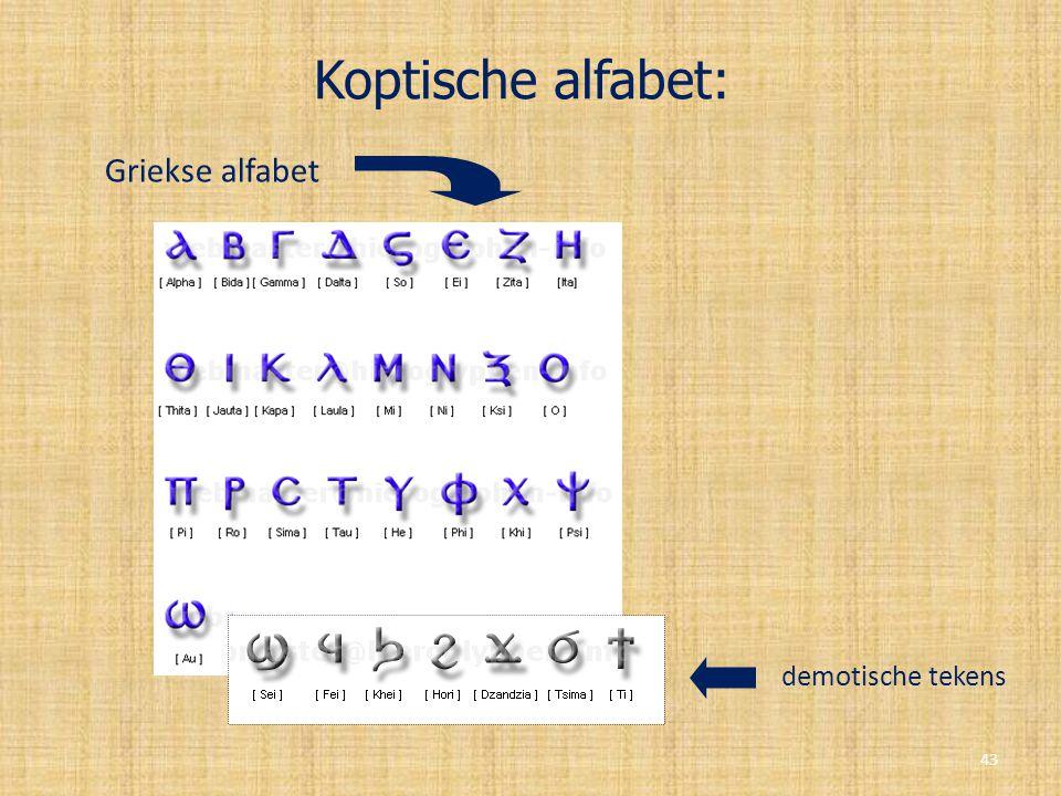 Koptische alfabet: Griekse alfabet demotische tekens 43