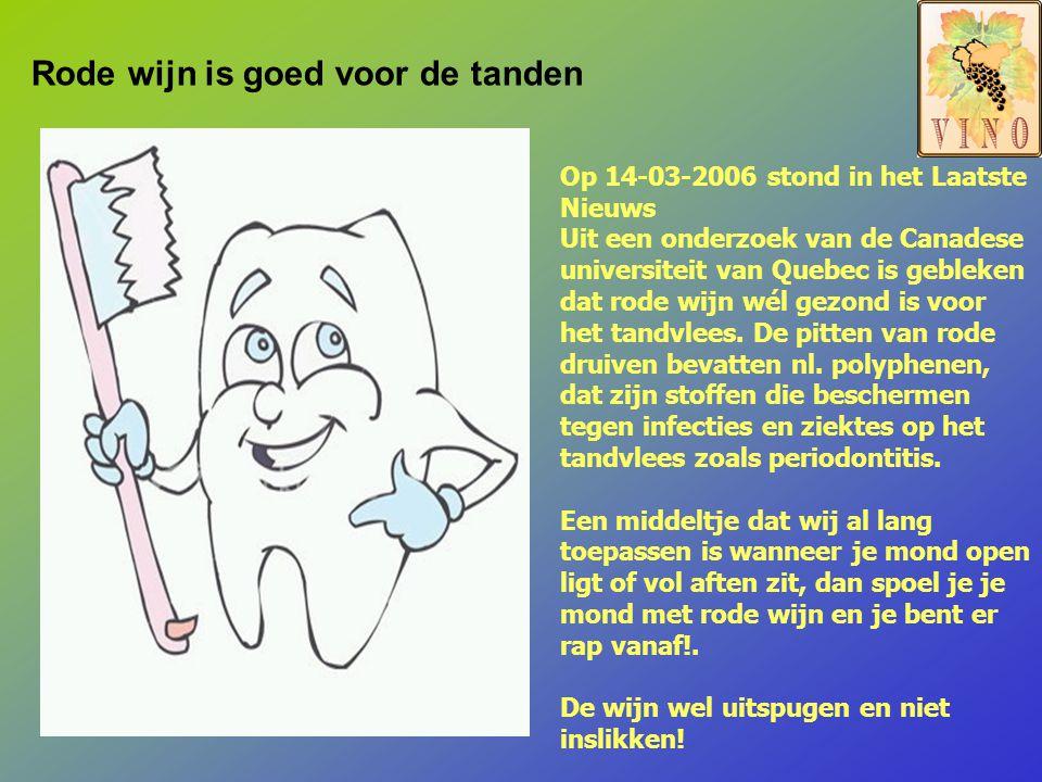 Op 14-03-2006 stond in het Laatste Nieuws Uit een onderzoek van de Canadese universiteit van Quebec is gebleken dat rode wijn wél gezond is voor het tandvlees.
