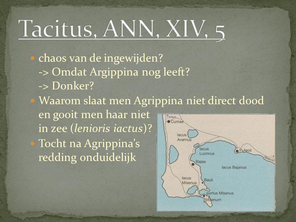 chaos van de ingewijden? -> Omdat Argippina nog leeft? -> Donker? Waarom slaat men Agrippina niet direct dood en gooit men haar niet in zee (lenioris