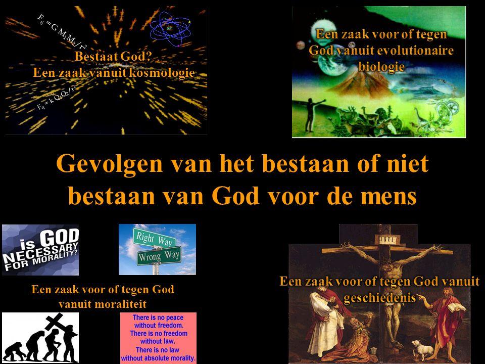 Gevolgen van het bestaan of niet bestaan van God voor de mens F q = k Q 1 Q 2 /r 2 F g = G M 1 M 2 /r 2