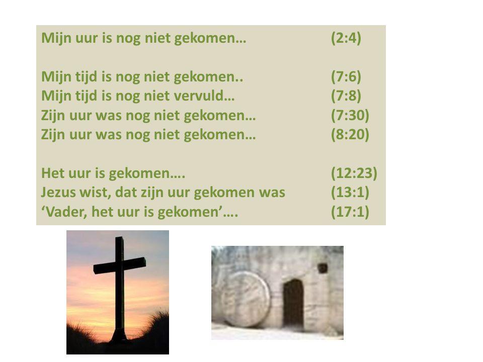 Mijn uur is nog niet gekomen… (2:4) Mijn tijd is nog niet gekomen.. (7:6) Mijn tijd is nog niet vervuld… (7:8) Zijn uur was nog niet gekomen… (7:30) Z