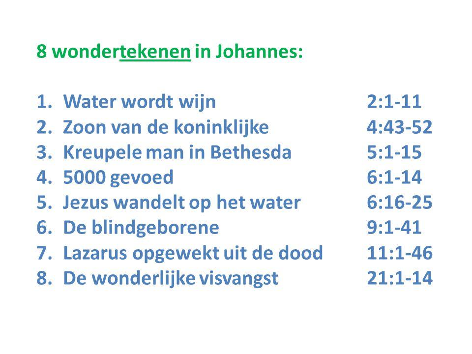 8 wondertekenen in Johannes: 1.Water wordt wijn 2:1-11 2.Zoon van de koninklijke 4:43-52 3.Kreupele man in Bethesda 5:1-15 4.5000 gevoed 6:1-14 5.Jezu