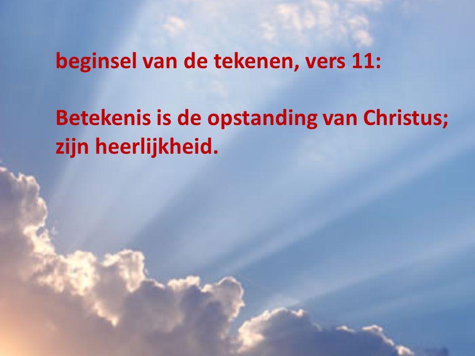 beginsel van de tekenen, vers 11: Betekenis is de opstanding van Christus; zijn heerlijkheid.