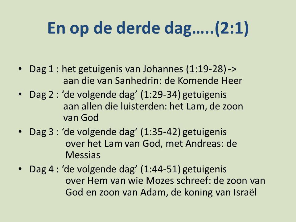 En op de derde dag…..(2:1) Dag 1 : het getuigenis van Johannes (1:19-28) -> aan die van Sanhedrin: de Komende Heer Dag 2 : 'de volgende dag' (1:29-34)