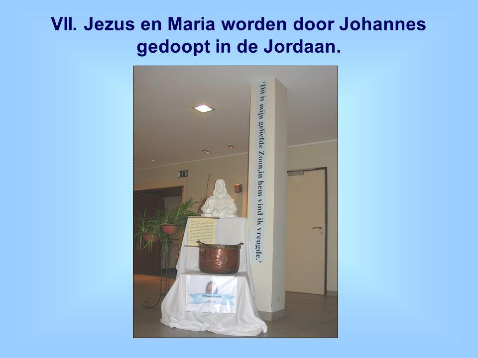 VII. Jezus en Maria worden door Johannes gedoopt in de Jordaan.