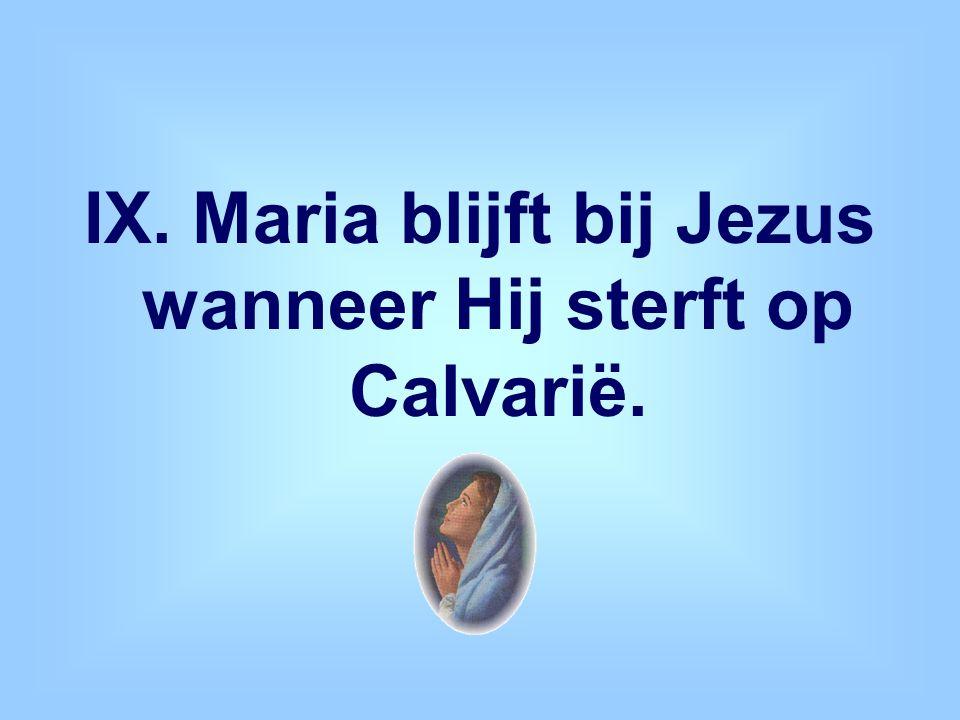 IX. Maria blijft bij Jezus wanneer Hij sterft op Calvarië.