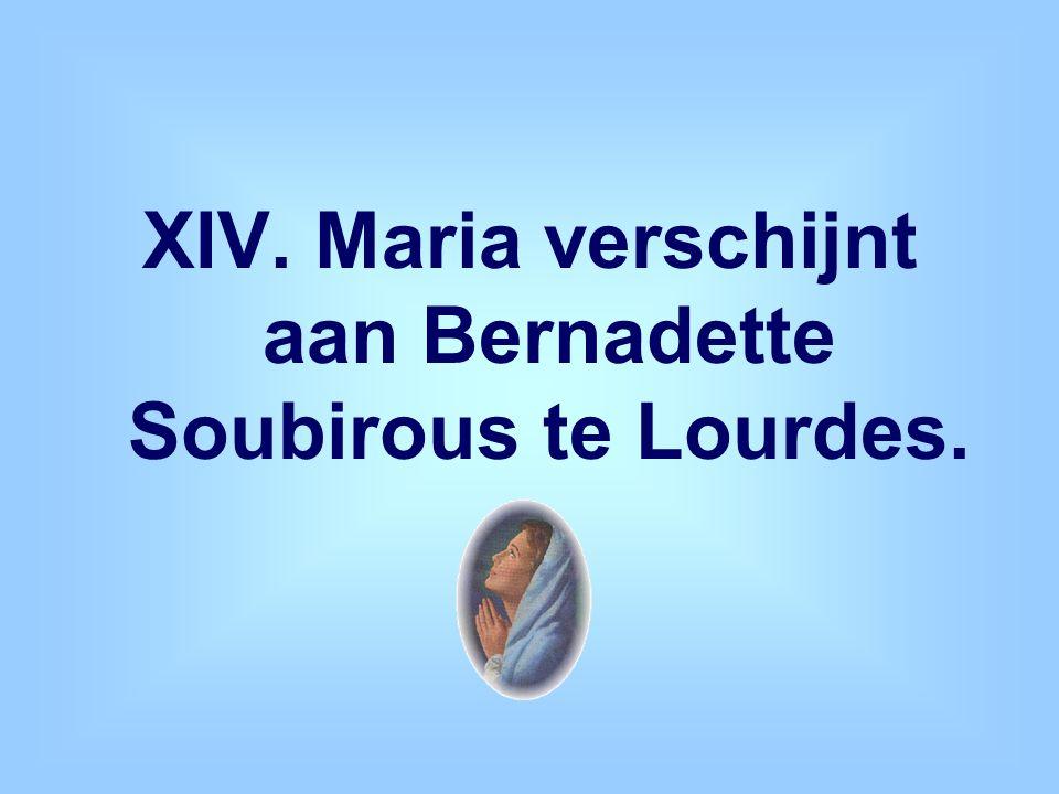 XIV. Maria verschijnt aan Bernadette Soubirous te Lourdes.