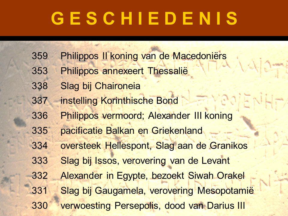 G E S C H I E D E N I S 359Philippos II koning van de Macedoniërs 353Philippos annexeert Thessalië 338Slag bij Chaironeia 337instelling Korinthische B