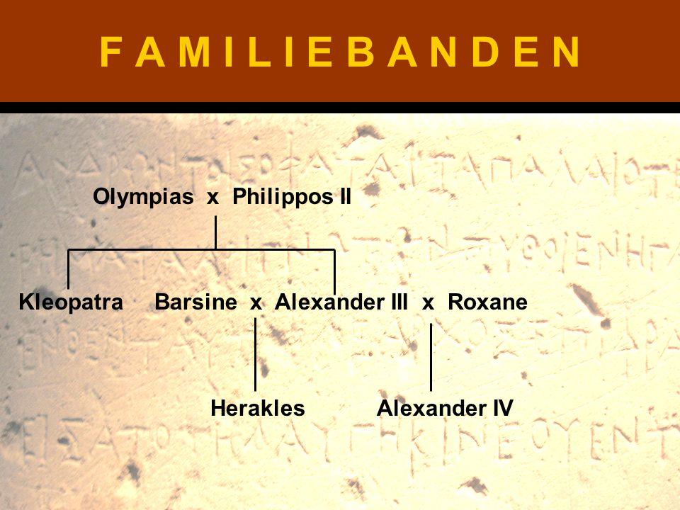 F A M I L I E B A N D E N Olympias x Philippos II Kleopatra Barsine x Alexander III x Roxane Herakles Alexander IV