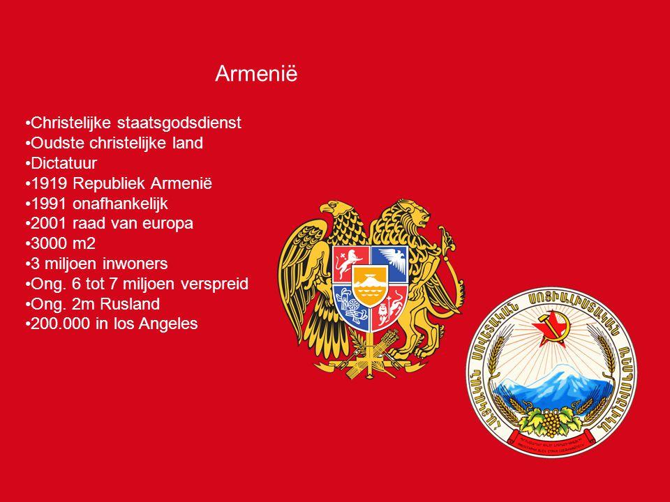 Armenië Christelijke staatsgodsdienst Oudste christelijke land Dictatuur 1919 Republiek Armenië 1991 onafhankelijk 2001 raad van europa 3000 m2 3 miljoen inwoners Ong.