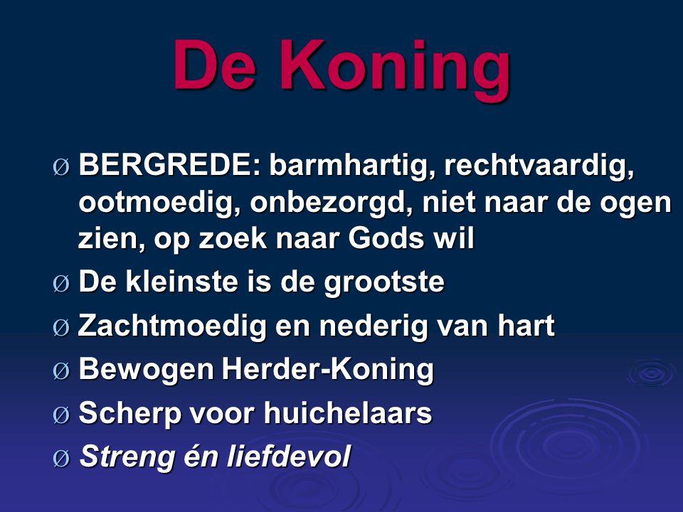 De Koning Ø BERGREDE: Ø BERGREDE: barmhartig, rechtvaardig, ootmoedig, onbezorgd, niet naar de ogen zien, op zoek naar Gods wil Ø De Ø De kleinste is