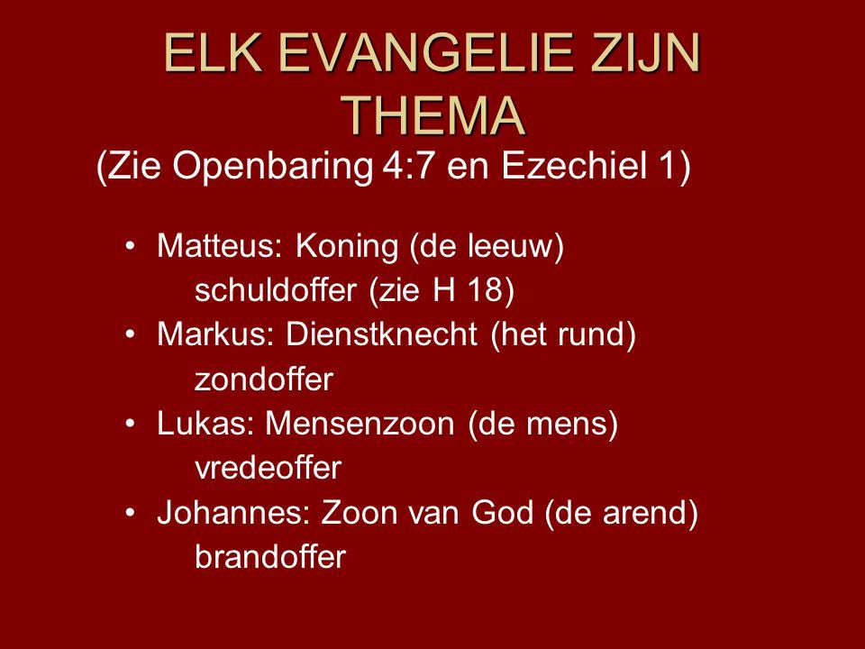 ELK EVANGELIE ZIJN THEMA Matteus: Koning (de leeuw) schuldoffer (zie H 18) Markus: Dienstknecht (het rund) zondoffer Lukas: Mensenzoon (de mens) vrede