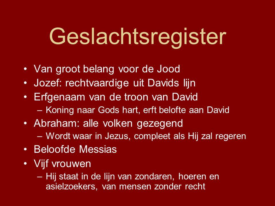 Geslachtsregister Van groot belang voor de Jood Jozef: rechtvaardige uit Davids lijn Erfgenaam van de troon van David –Koning naar Gods hart, erft bel