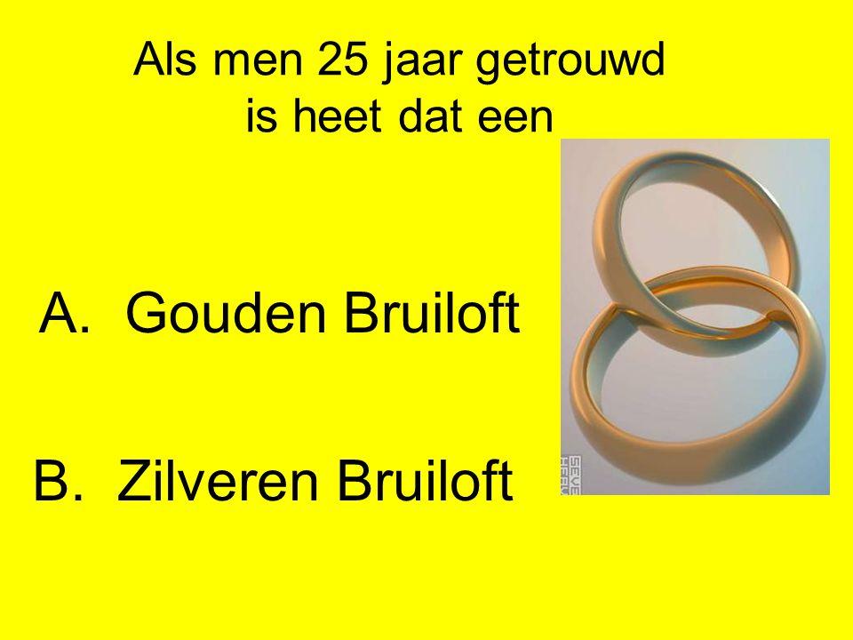 Als men 25 jaar getrouwd is heet dat een A.Gouden Bruiloft B.Zilveren Bruiloft
