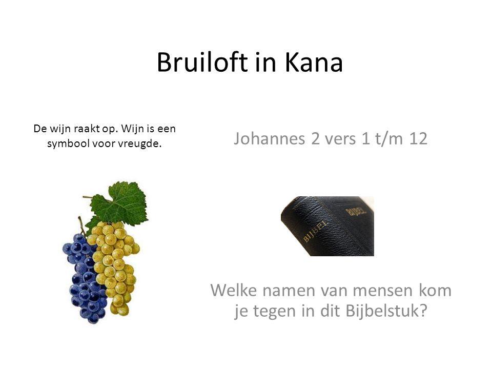 Bruiloft in Kana De wijn raakt op. Wijn is een symbool voor vreugde. Johannes 2 vers 1 t/m 12 Welke namen van mensen kom je tegen in dit Bijbelstuk?