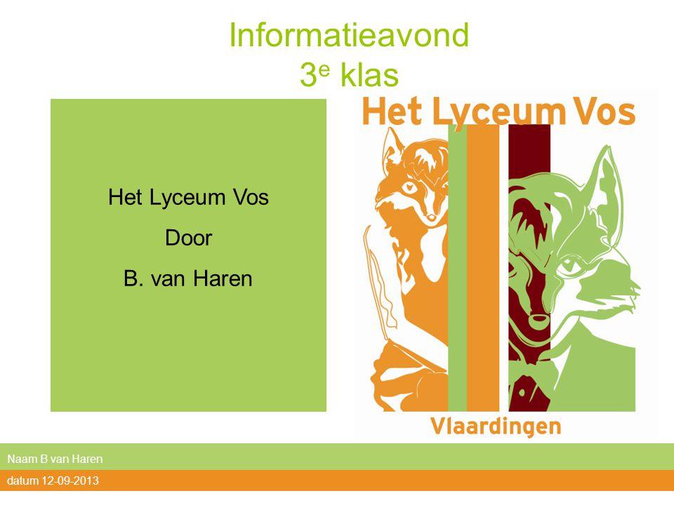 Informatieavond 3 e klas Het Lyceum Vos Door B. van Haren Naam B van Haren datum 12-09-2013