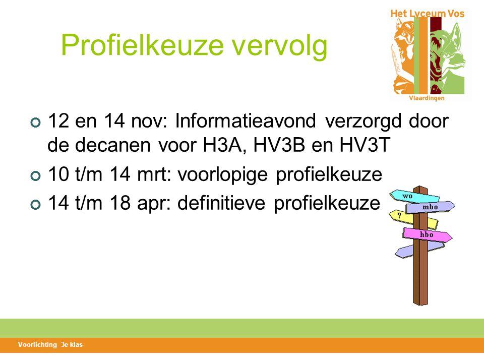 Profielkeuze vervolg 12 en 14 nov: Informatieavond verzorgd door de decanen voor H3A, HV3B en HV3T 10 t/m 14 mrt: voorlopige profielkeuze 14 t/m 18 apr: definitieve profielkeuze Voorlichting 3e klas