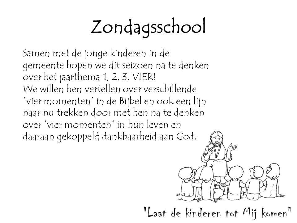 Zondagsschool Samen met de jonge kinderen in de gemeente hopen we dit seizoen na te denken over het jaarthema 1, 2, 3, VIER.