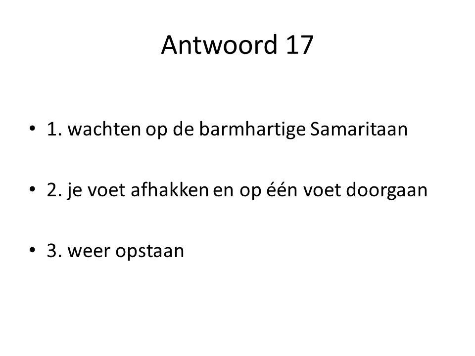Antwoord 17 1. wachten op de barmhartige Samaritaan 2. je voet afhakken en op één voet doorgaan 3. weer opstaan