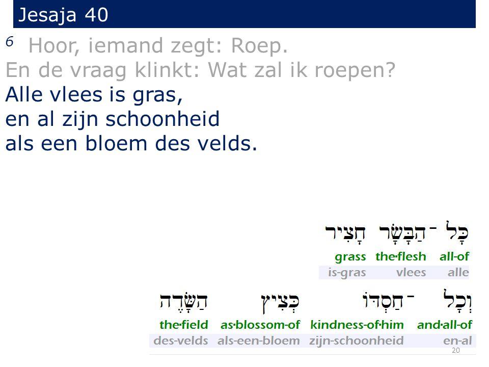 Jesaja 40 6 Hoor, iemand zegt: Roep. En de vraag klinkt: Wat zal ik roepen.