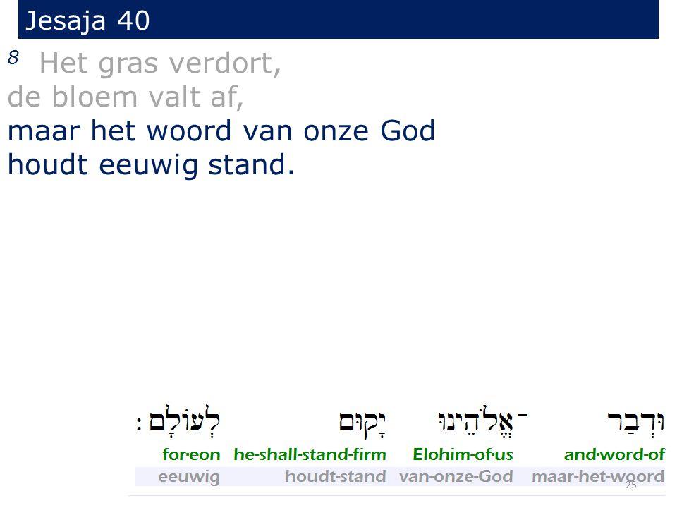 Jesaja 40 8 Het gras verdort, de bloem valt af, maar het woord van onze God houdt eeuwig stand. 25