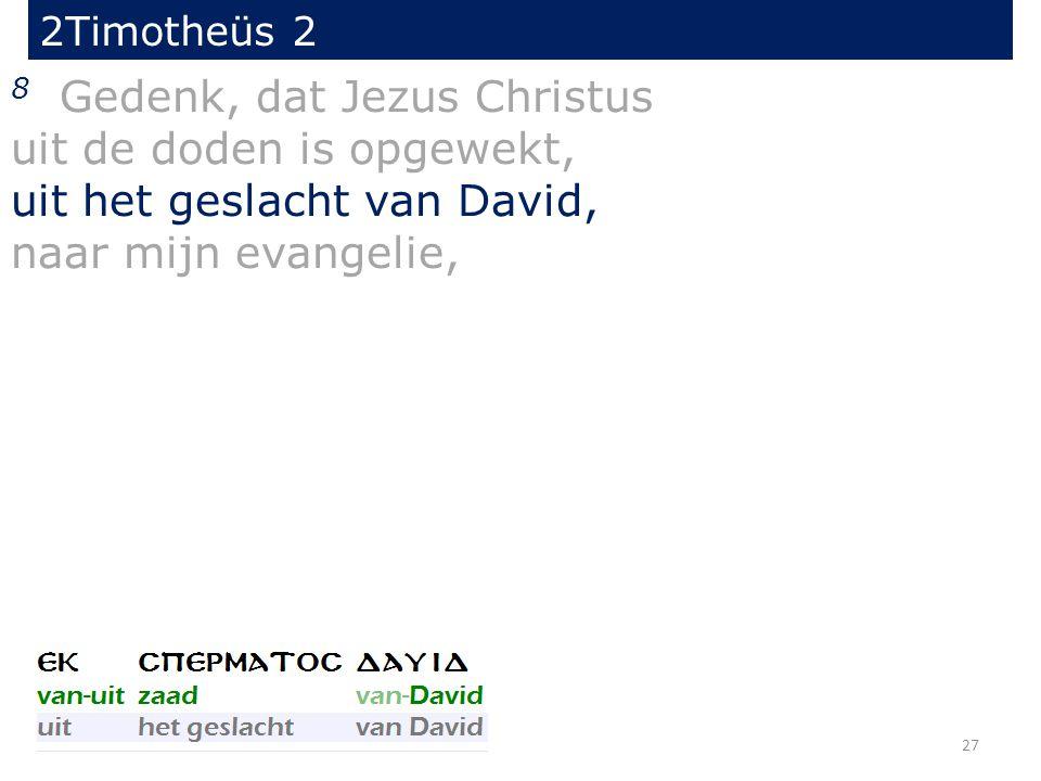 2Timotheüs 2 8 Gedenk, dat Jezus Christus uit de doden is opgewekt, uit het geslacht van David, naar mijn evangelie, 27