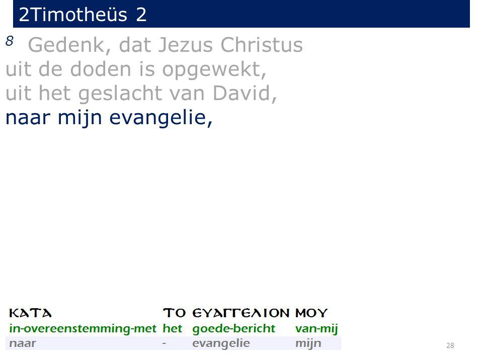 2Timotheüs 2 8 Gedenk, dat Jezus Christus uit de doden is opgewekt, uit het geslacht van David, naar mijn evangelie, 28