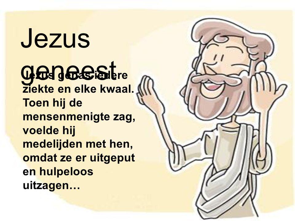 Jezus geneest Jezus genas iedere ziekte en elke kwaal. Toen hij de mensenmenigte zag, voelde hij medelijden met hen, omdat ze er uitgeput en hulpeloos